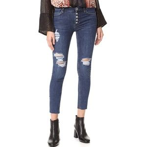 FREE PEOPLE Destroyed Reagan Raw Jeans 27